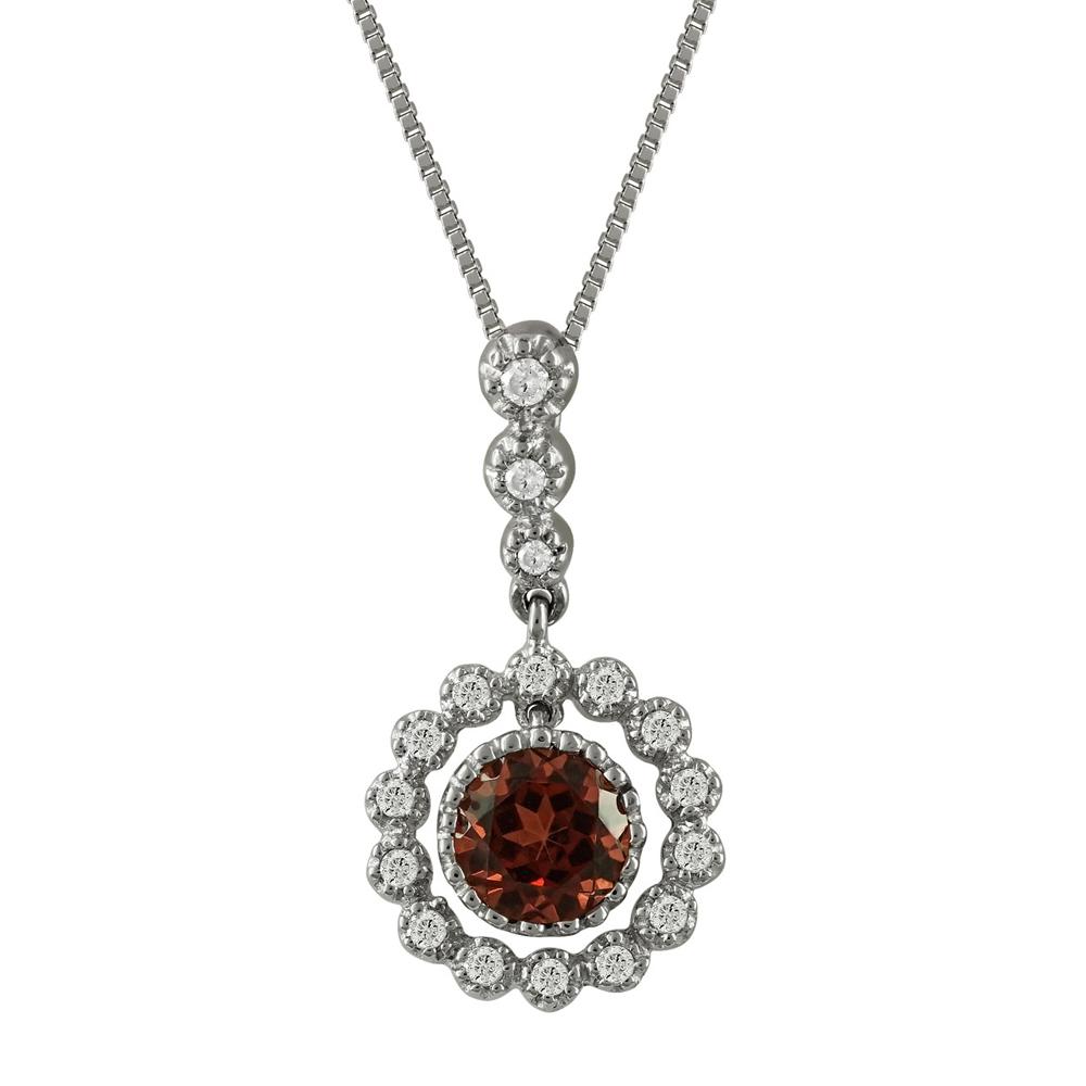 Μενταγιόν Με Γρανάτη Και Διαμάντια Brilliant από Λευκόχρυσο Κ18 M33019