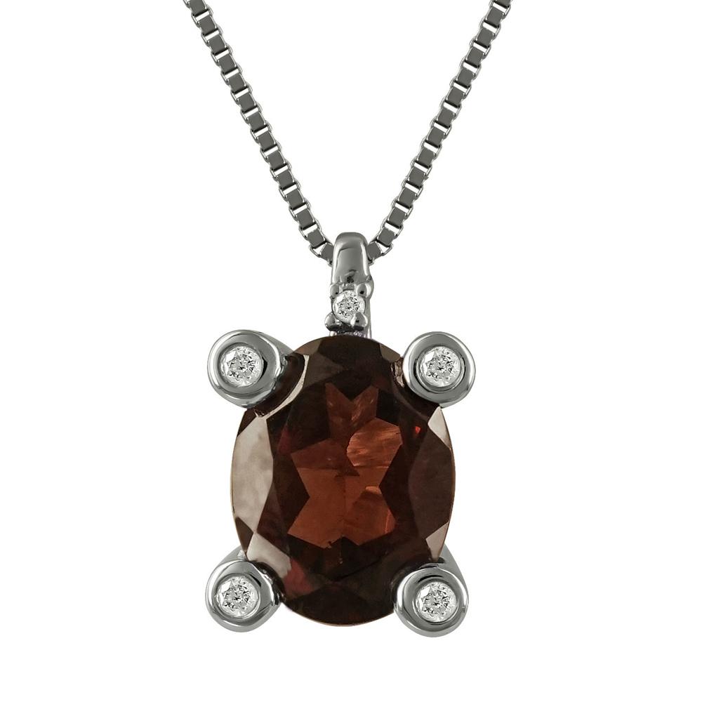 Μενταγιόν Με Γρανάτη Και Διαμάντια Brilliant από Λευκόχρυσο Κ18 M33025