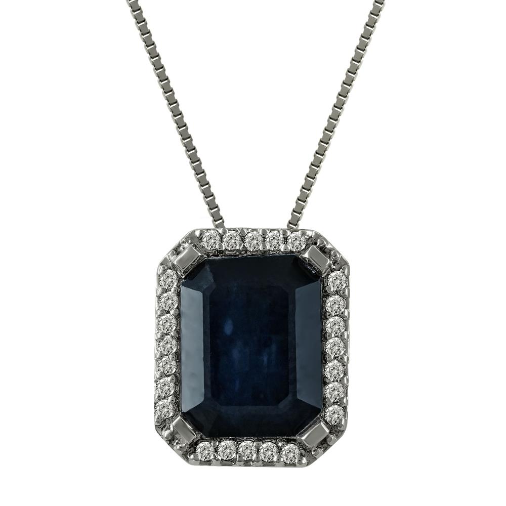 Μενταγιόν Με Ζαφείρι Και Διαμάντια Brilliant από Λευκόχρυσο Κ18 M33448