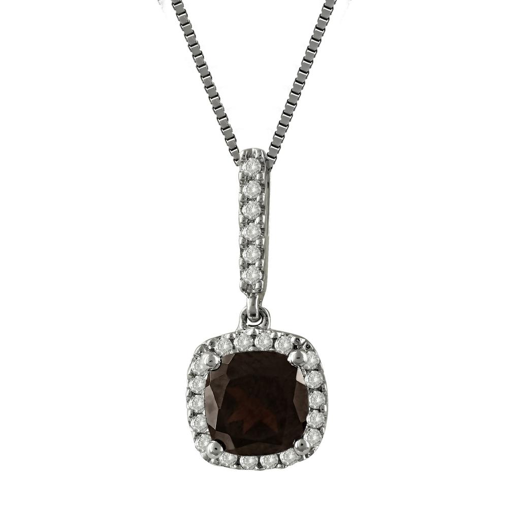 Μενταγιόν Με Γρανάτη Και Διαμάντια Brilliant από Λευκόχρυσο Κ18 M35140