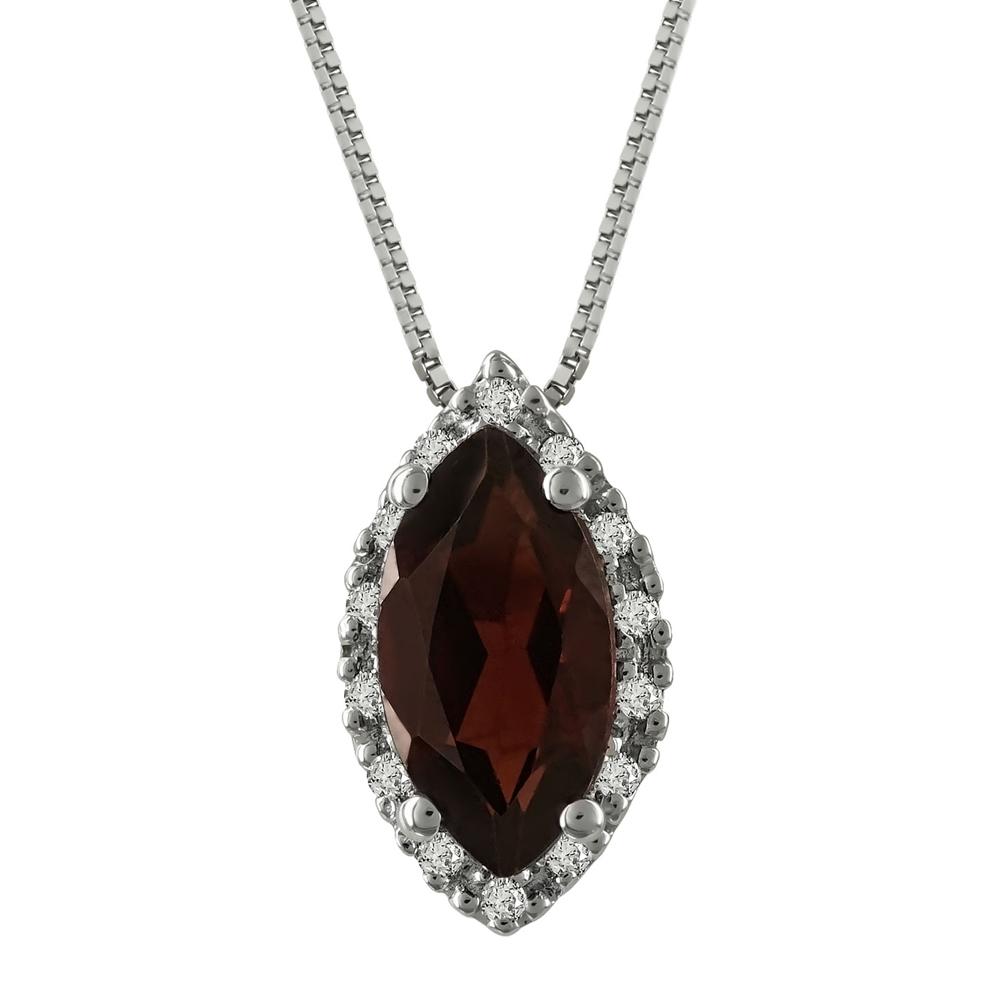 Μενταγιόν Με Γρανάτη Και Διαμάντια Brilliant από Λευκόχρυσο Κ18 M36229