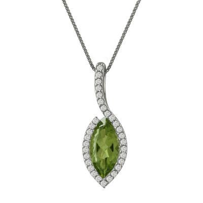 Λευκόχρυσο Μενταγιόν Με Peridot και Διαμάντια Brilliant Κ18 M82844