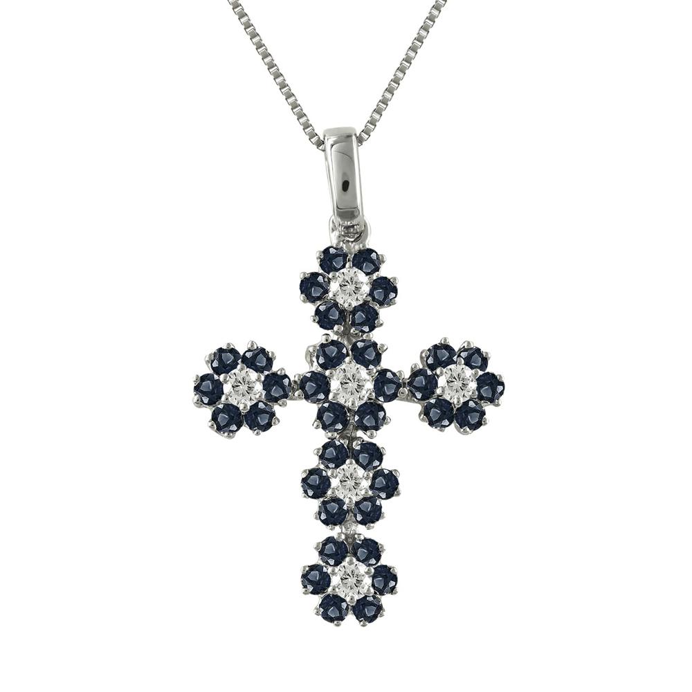 Γυναικείος Σταυρός Σε Λευκόχρυσο 18 Καρατίων Mε Ζαφείρι και Διαμάντια Brilliant SΤ52611