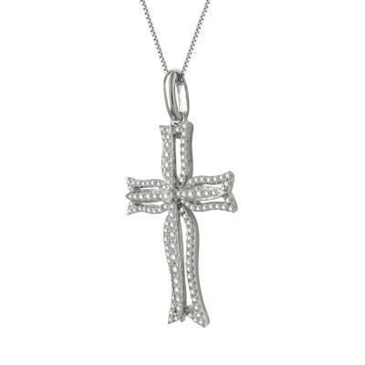 Γυναικείος Σταυρός Σε Λευκόχρυσο 18 Καρατίων Με Διαμάντια Brilliant ST67071