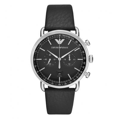 EMPORIO ARMANI Black Leather Chronograph AR11143