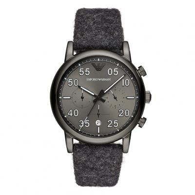 EMPORIO ARMANI Black Leather Chronograph AR11154