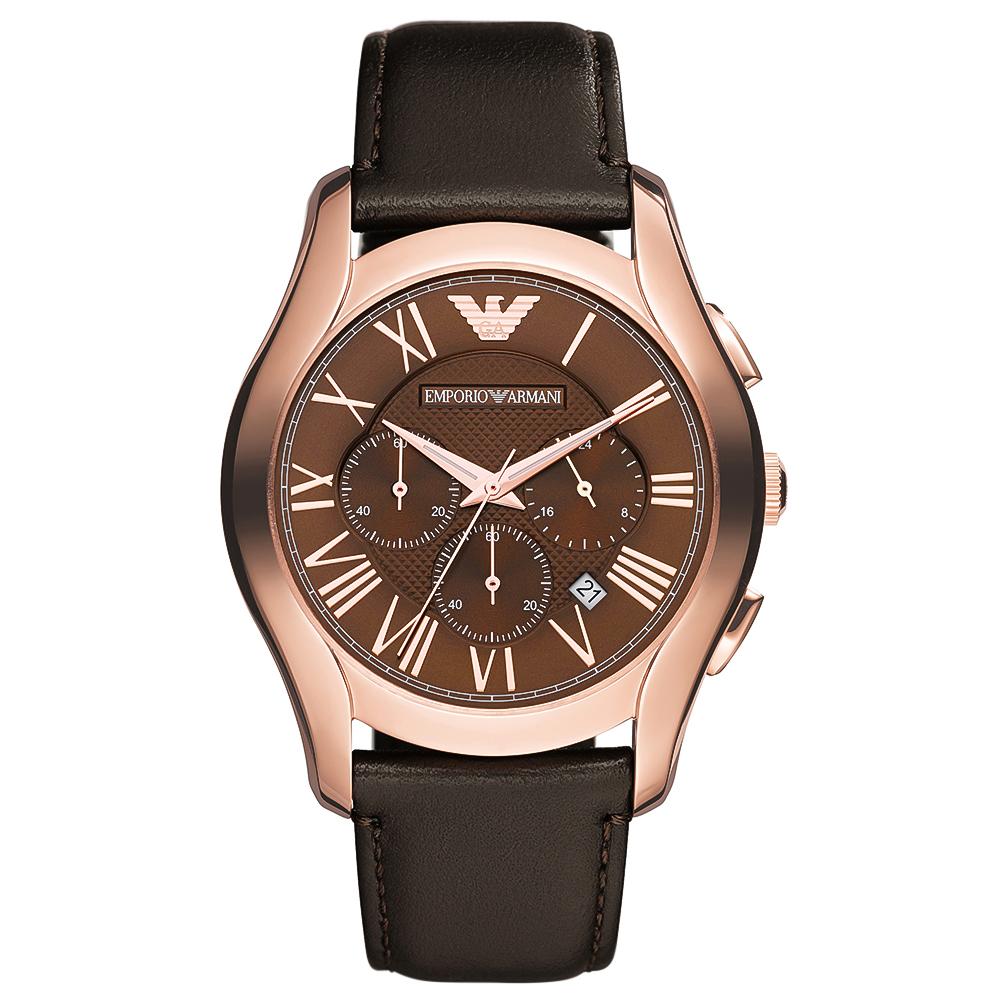 EMPORIO ARMANI Rose Gold Brown Leather Chronograph AR1701