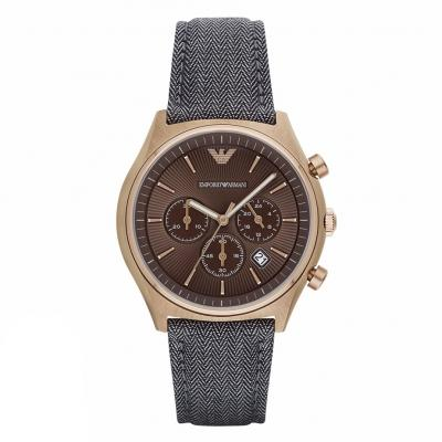 EMPORIO ARMANI Zeta Gold Grey Leather Chronograph AR1976