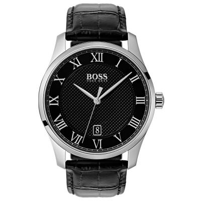HUGO BOSS Silver Case Black Leather Strap 1513585