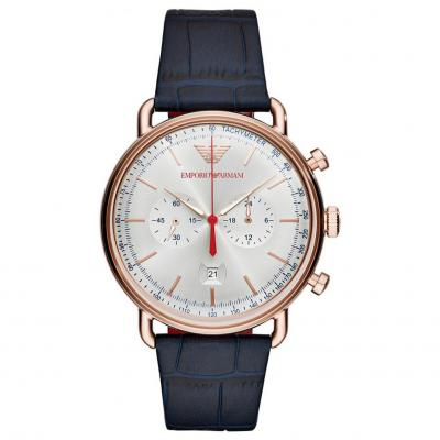 Emporio ARMANI Rose Gold Blue Leather Chronograph AR11123