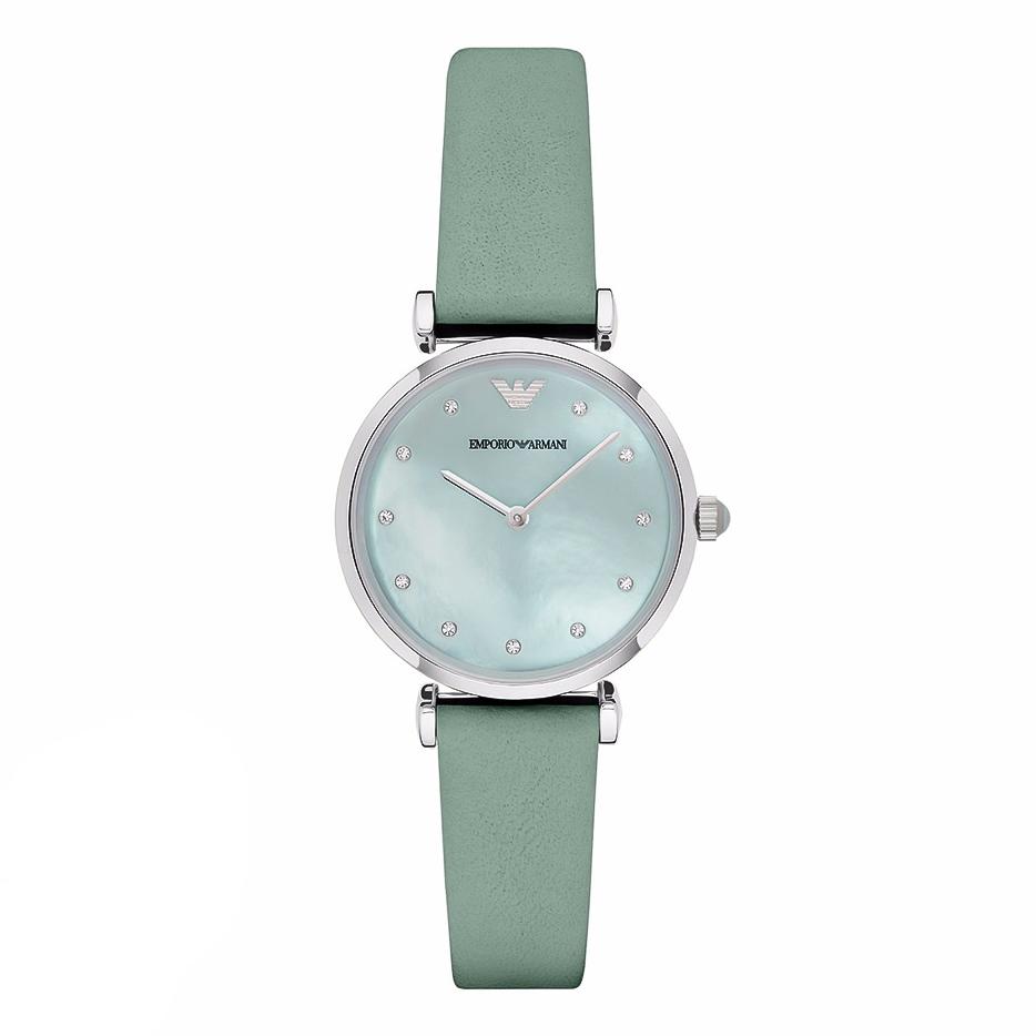 EMPORIO ARMANI Gianni T-Bar Crystals Green Leather Strap AR1959