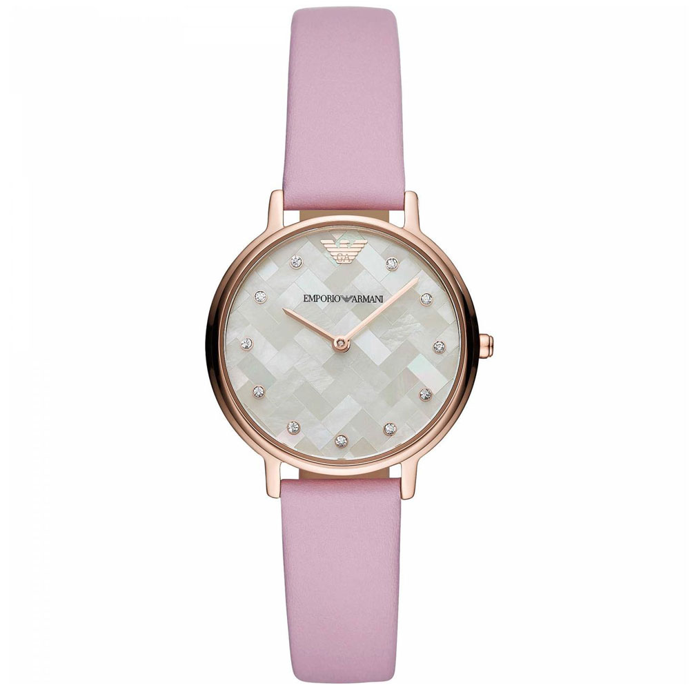 EMPORIO ARMANI Kappa Crystals Rose Gold Pink Leather Strap AR11130