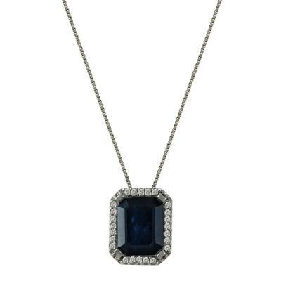 Λευκόχρυσο Μενταγιόν Με Ζαφείρι Και Διαμάντια Brilliant Κ18 M33448