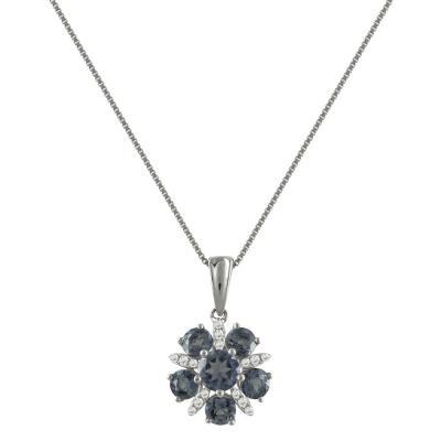Λευκόχρυσο Μενταγιόν Με Ιωλίτη και Διαμάντια Brilliant Κ18 M38918