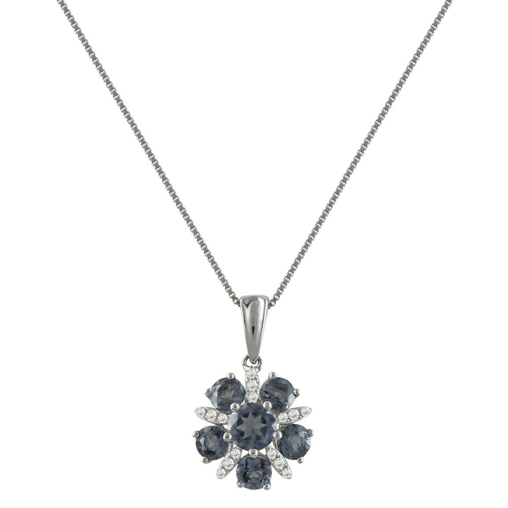 Λευκόχρυσο Μενταγιόν Με Ιολίτη και Διαμάντια Brilliant Κ18 M38918