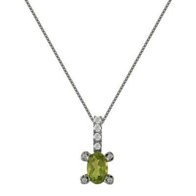 Λευκόχρυσο Μενταγιόν Με Peridot και Διαμάντια Brilliant Κ18 M83229