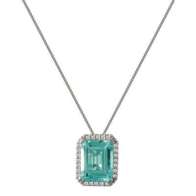 Λευκόχρυσο Μενταγιόν Με Τουρμαλίνη και Διαμάντια Brilliant Κ18 M30195