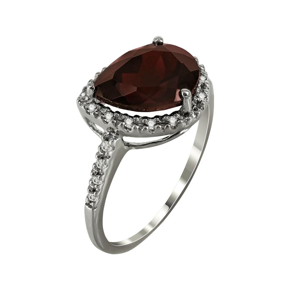 Λευκόχρυσο Μονόπετρο Δαχτυλίδι Με Γρανάτη Και Διαμάντια Brilliant Κ18 DX27050