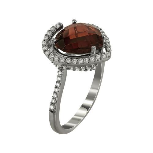 Μονόπετρο Δαχτυλίδι Με Γρανάδα Και Διαμάντια Brilliant Κ18 DX35041