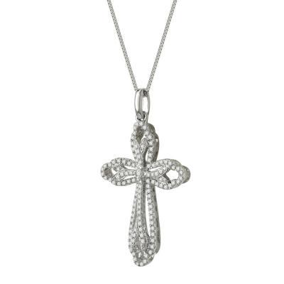 Γυναικείος Σταυρός Σε Λευκόχρυσο 18 Καρατίων Με Διαμάντια Brilliant ST50170