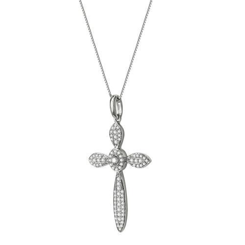 Γυναικείος Σταυρός Σε Λευκόχρυσο 18 Καρατίων Με Διαμάντια Brilliant ST67065