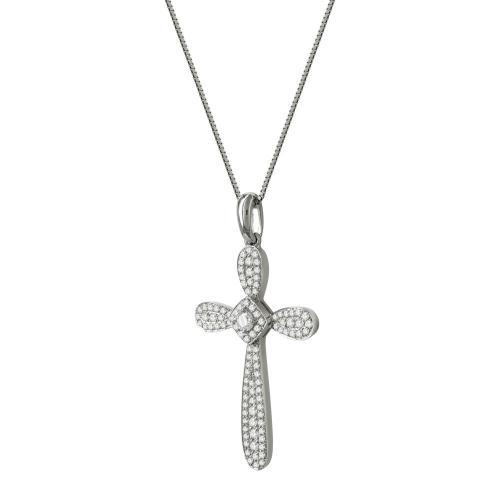 Γυναικείος Σταυρός Σε Λευκόχρυσο 18 Καρατίων Με Διαμάντια Brilliant ST67077