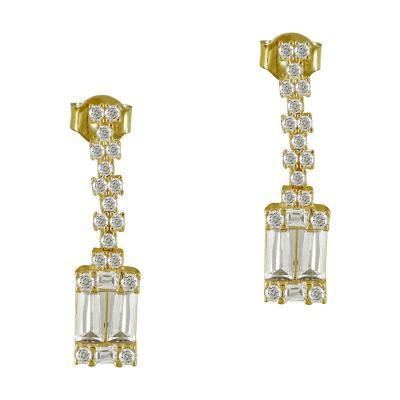 Κίτρινα Χρυσά Σκουλαρίκια K14 SK94968