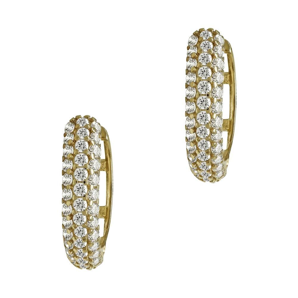 Κίτρινα Χρυσά Σκουλαρίκια Κρικάκια K14 SK97863