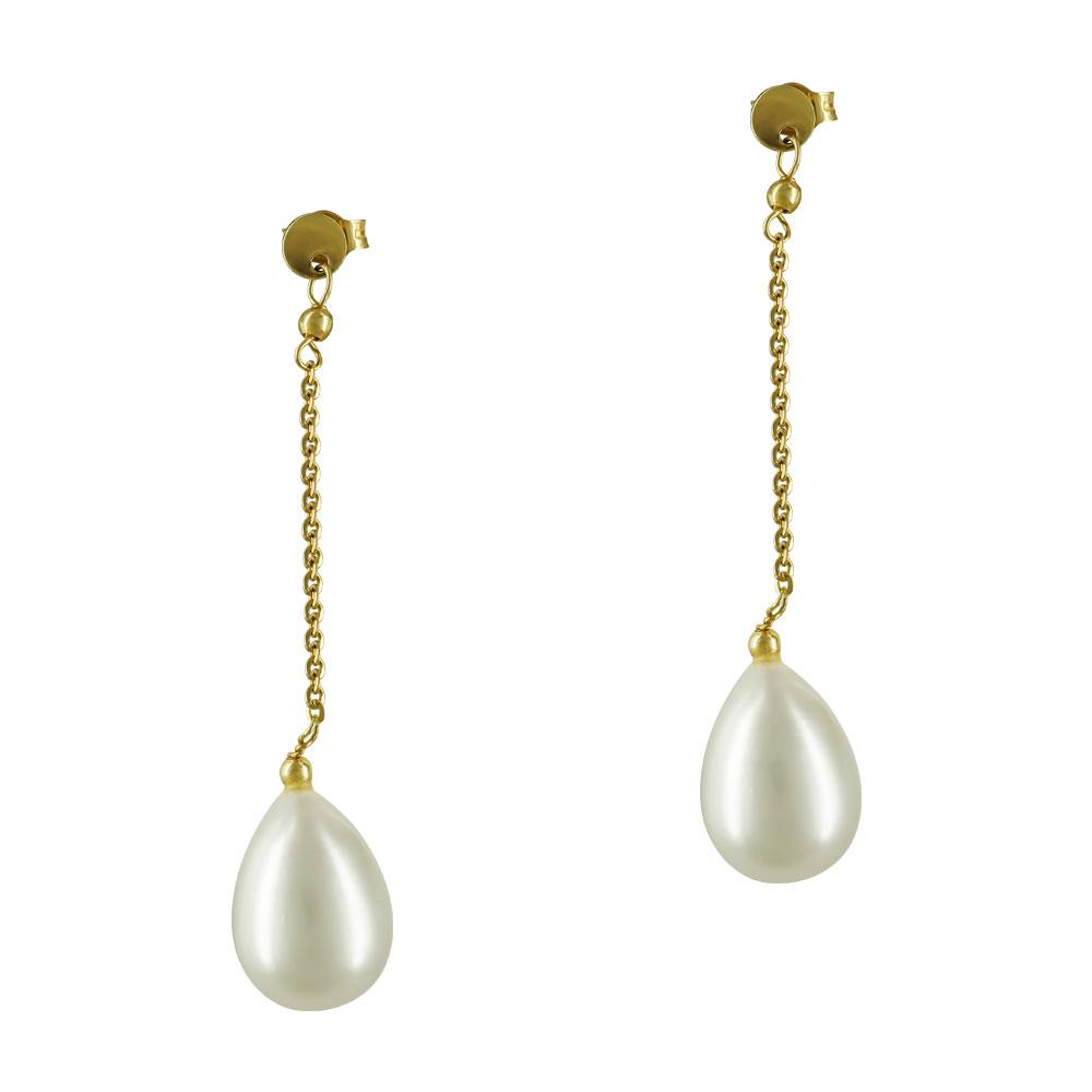 Kίτρινα Χρυσά Σκουλαρίκια Κρεμαστά Με Φυσικά Μαργαριτάρια K14 SK69558