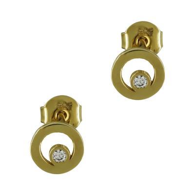 Κίτρινα Χρυσά Σκουλαρίκια K14 SK97855