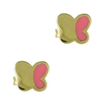 Κίτρινα Χρυσά Παιδικά Σκουλαρίκια Πεταλούδα Κ9 PSK352