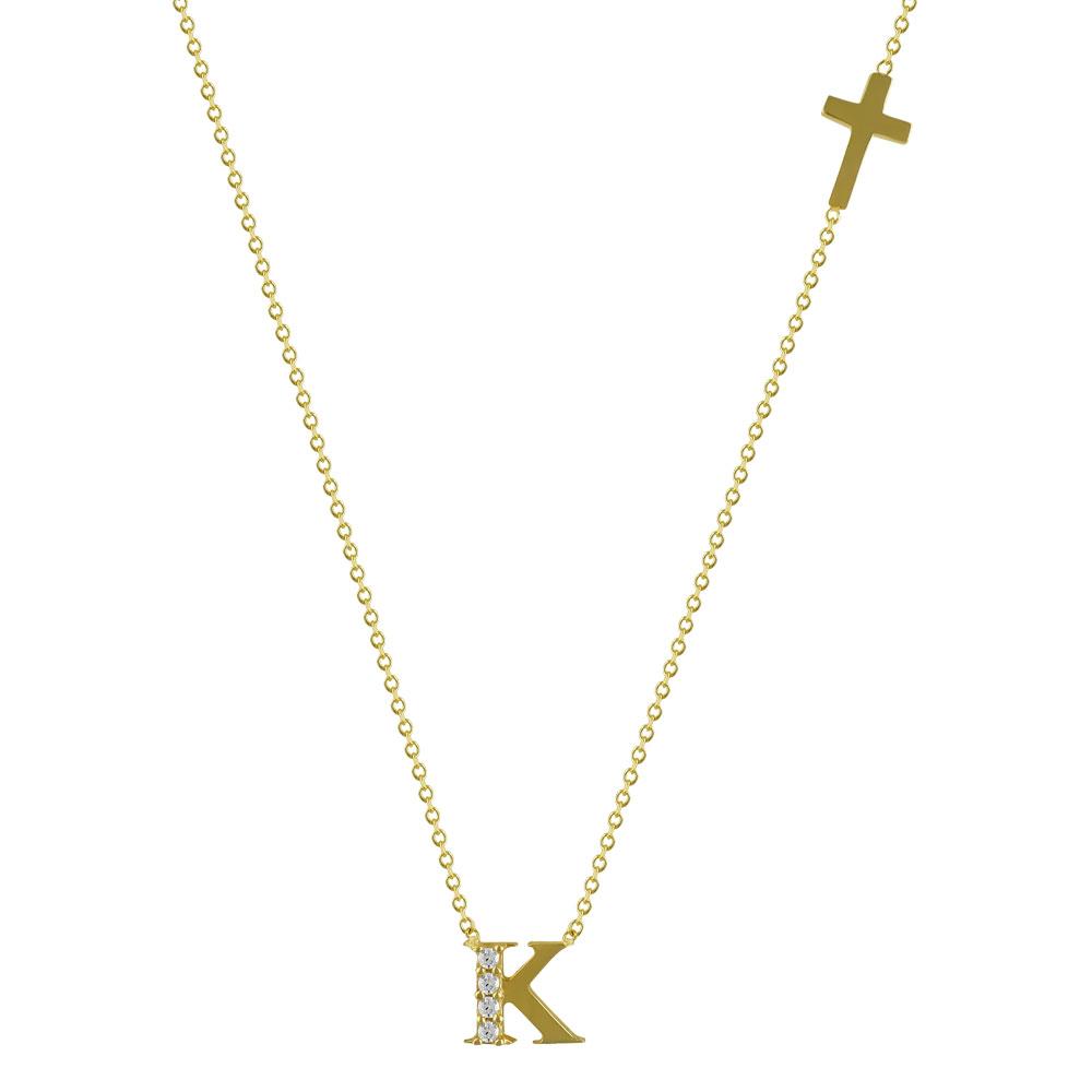 """Χρυσό Μονόγραμμα Μενταγιόν """"K"""" K14 MG98303"""