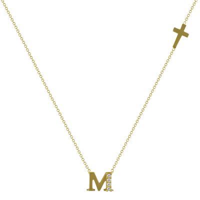"""Μενταγιόν Μονόγραμμα """"M"""" Aπό Κίτρινο Χρυσό Κ14 MG98296"""