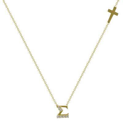 """Μενταγιόν Μονόγραμμα """"Σ"""" Από Κίτρινο Χρυσό Κ14 MG98299"""