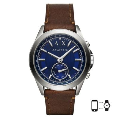 ARMANI EXCHANGE Hybrid Smartwatch Brown Leather Strap AXT1010