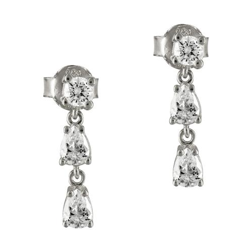 Σκουλαρίκια Με Πέτρες Από Λευκόχρυσο K14 SK799