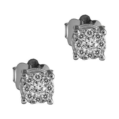 Σκουλαρίκια Μονόπετρα Με Διαμάντια Brilliant Από Λευκόχρυσο Κ18 E7804