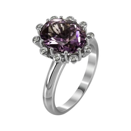 Μονόπετρο Δαχτυλίδι Με Αμέθυστο Και Διαμάντια Brilliant Από Λευκόχρυσο Κ18 D27660