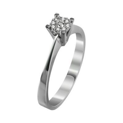 Μονόπετρο Δαχτυλίδι Με Διαμάντια Brilliant Από Λευκόχρυσο Κ18 R21950