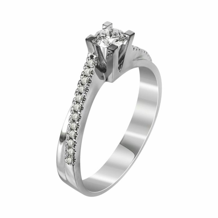 Μονόπετρο Δαχτυλίδι Με Διαμάντια Brilliant Από Λευκόχρυσο Κ18 R22651