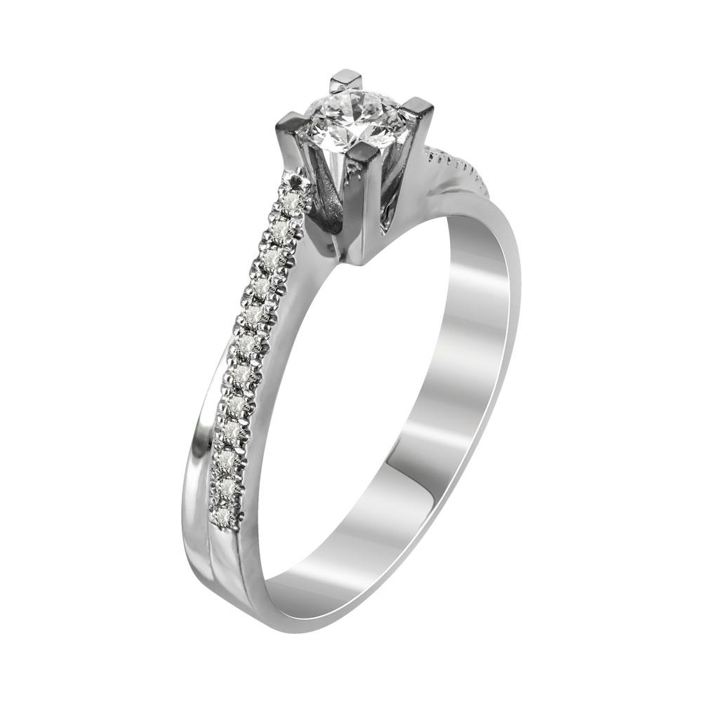 Μονόπετρο Δαχτυλίδι Με Διαμάντια Brilliant Από Λευκόχρυσο Κ18 R22651 ... b1b36356443