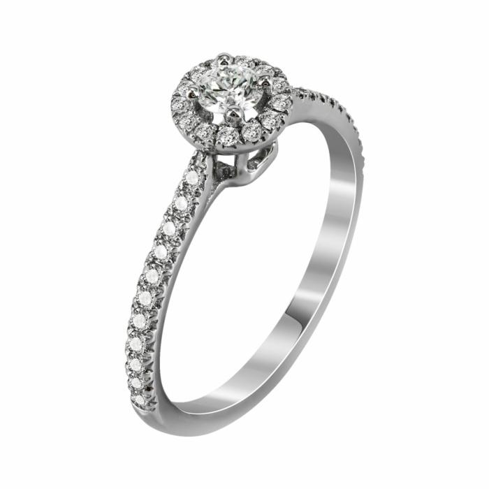 Μονόπετρο Δαχτυλίδι Με Διαμάντια Brilliant Από Λευκόχρυσο Κ18 R22849