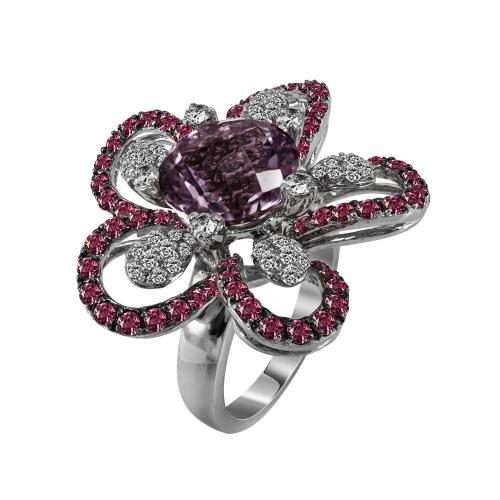 Μονόπετρο Δαχτυλίδι Με Αμέθυστο Και Διαμάντια Brilliant Από Λευκόχρυσο Κ18 D20819