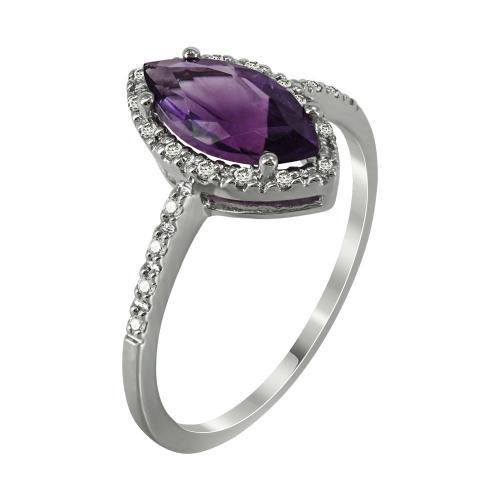Μονόπετρο Δαχτυλίδι Με Αμέθυστο Και Διαμάντια Brilliant Aπό Λευκόχρυσο Κ18 D30226