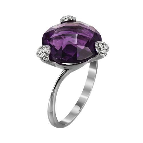 Μονόπετρο Δαχτυλίδι Με Αμέθυστο Και Διαμάντια Brilliant Από Λευκόχρυσο Κ18 D35088