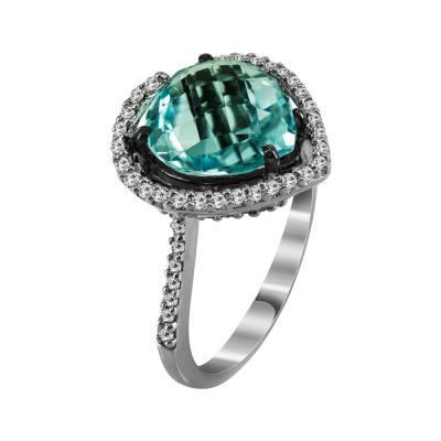 Μονόπετρο Δαχτυλίδι Με Τουρμαλίνη Και Διαμάντια Brilliant Από Λευκόχρυσο Κ18 D36234