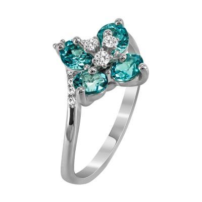 Μονόπετρο Δαχτυλίδι Με Τουρμαλίνη Και Διαμάντια Brilliant Aπό Λευκόχρυσο Κ18 D36473