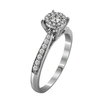 Μονόπετρο Δαχτυλίδι Με Διαμάντια Brilliant Από Λευκόχρυσο Κ18 R19282