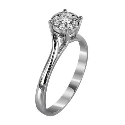 Μονόπετρο Δαχτυλίδι Με Διαμάντια Brilliant Από Λευκόχρυσο Κ18 R19716