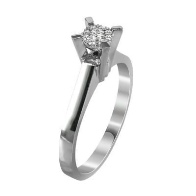 Μονόπετρο Δαχτυλίδι Με Διαμάντια Brilliant Από Λευκόχρυσο Κ18 R20708